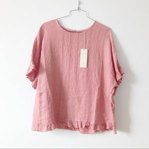 Lina Tomei pink 100% linen top NWT